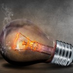 burned out incandescent light bulb