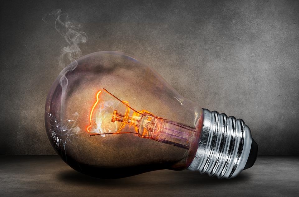 burned out incandescent light bulb